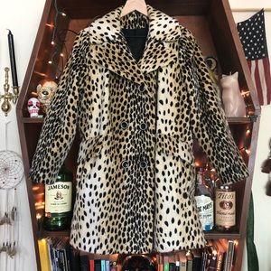 Vintage Cheetah Print Fur Jacket